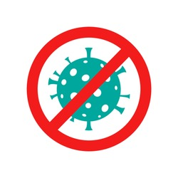 Stop corona virus. Stop covid19. Virus danger icon. Stop virus outbreak. Pandemic infection. Vector illustration.