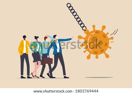 Stop Coronavirus COVID-19 pandemic causing financial crisis, economic stimulus to help protect company from bankruptcy concept, businessmen virus immune team up to protect wrecking ball Coronavirus.