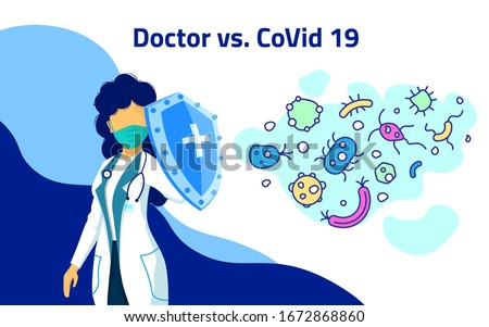 STOP Coronavirus. Woman doctor hero nurse fighting Coronavirus symptoms. Female with shield. Doctor wearing mask fighting COVID-19 symptoms concept. Vector Illustration for banner, poster, flyer.