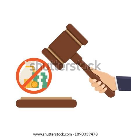 Stop corruption, judge hammer, money and stop sign, flat design vector illustration Foto stock ©