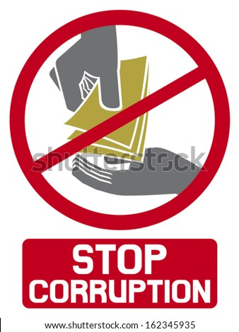 stop corruption sign (stop corruption symbol, hand giving money to other hand)