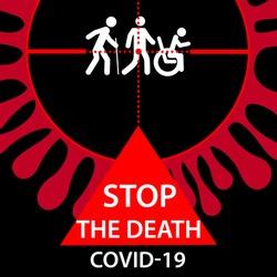 Stop COVID-19 coronavirus icon. People in crosshairs of novel contagious virus . Vector Illustration