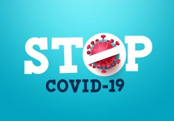 Stop covid-19 coronavirus vector sign. Stop covid-19 text with corona virus icon in blue pattern background for global covid19 outbreak. Vector illustration.