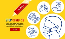 Stop Covid-19 Template Banner, People wearing protective Medical mask for prevent virus Wuhan Covid-19, Coronavirus Protection Related Vector Line Icons.