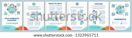 Stop domestic violence brochure template layout. No family abuse. Flyer, booklet, leaflet print design with linear illustrations. Vector page layouts for magazines, annual reports, advertising posters