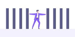 Stop domino effect business resilience metaphor vector illustration concept. Adult young businessman pushing falling domino line business concept of problem solving and stopping domino chain reaction.