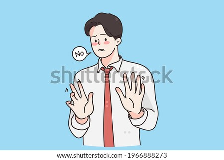 Stop, forbidden sign, refusal concept. Young frustrated handsome businessman wearing tie standing Moving away hands palms showing refusal and denial vector illustration  Photo stock ©