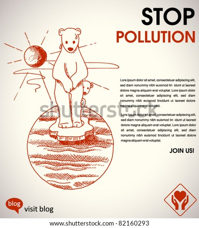 stop global warming - environmental poster with a hand-drawn polar bears