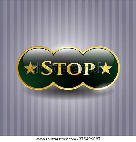 Stop golden emblem
