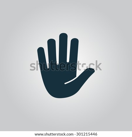 Stop - hand. Flat web icon or sign isolated on grey background. Collection modern trend concept design style vector illustration symbol