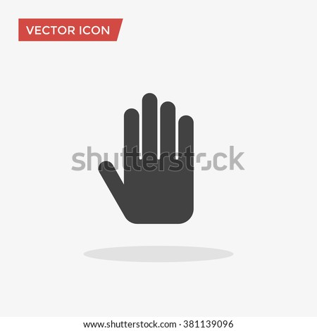 stop hand icon in trendy flat