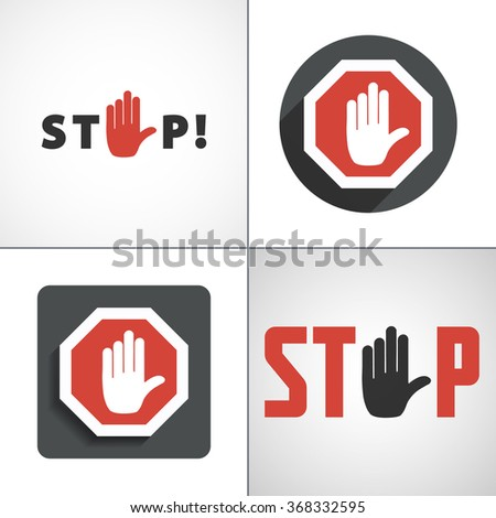 stop hand icon vector jpeg