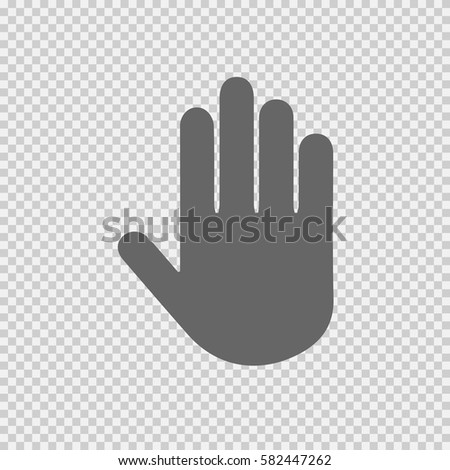 Stop hand vector icon on transparent background. Vector illustration EPS 10.