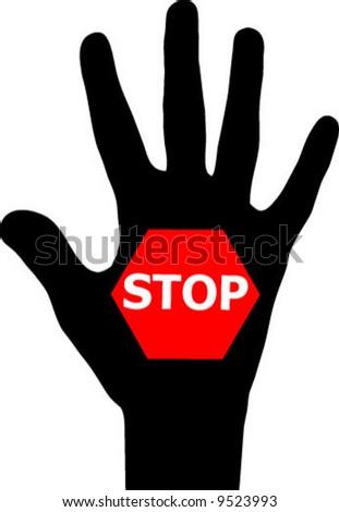 Stop hand vector illustration stock vector