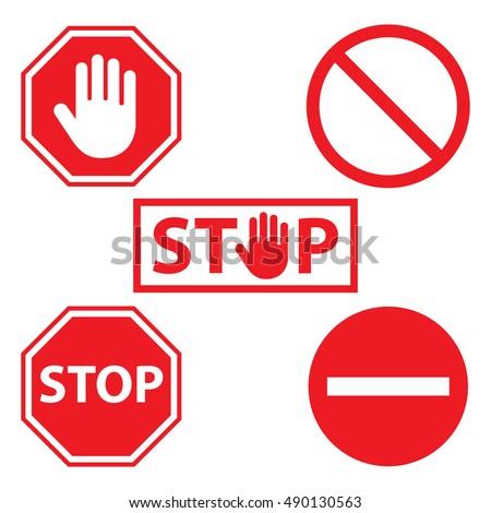 stop icon set