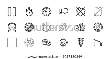 Stop icons. set of 18 editable outline stop icons: barrier, no phone, no fast food, exclamation, traffic light, dislike, heartbeat watch, pause, clock, stopwatch, warning