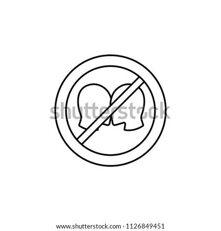 Stop kiss. Forbidden kiss. Frozen juicy womens lips. Emblem against kissing. Red forbidding character. Ban hot kisses
