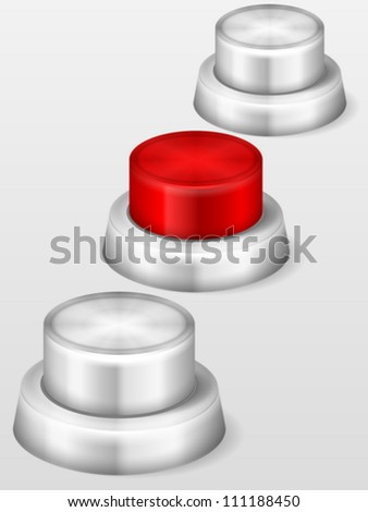 Stop knob button on grey background. Vector illustration.