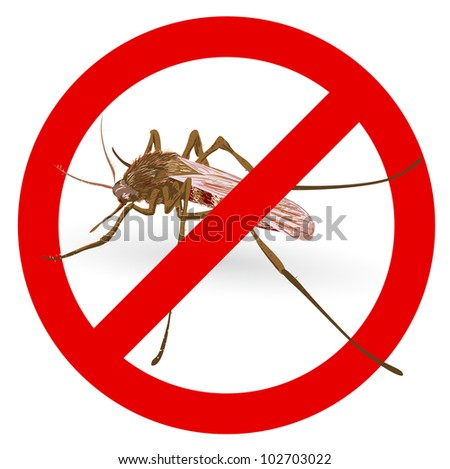 Stop mosquito sign. Vector illustration. - stock vector