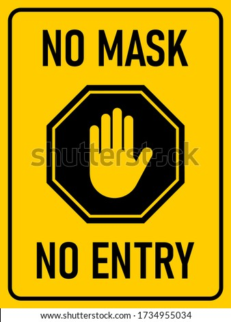 Stop No Mask No Entry Vertical Rectangular Warning Sign with an Aspect Ratio of 3:4. Vector Image. Stockfoto ©