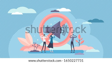 Stop noise sign concept, flat tiny person vector illustration. Sound symbol and people protesting. Loud urban environment and noisy neighbors social issues. Modern life problems and lack of the peace.