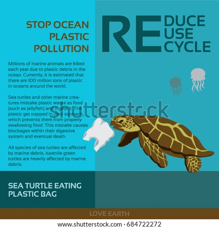 Stop ocean plastic pollution-Sea turtle eating plastic bag