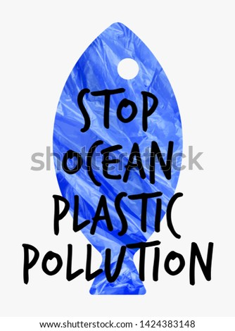 Stop ocean plastic pollution vector illustration. Ecological poster Fish composed of 3d realistic plastic waste bag. Message Fashion Slogan for T-shirt and apparels graphic vector Print.