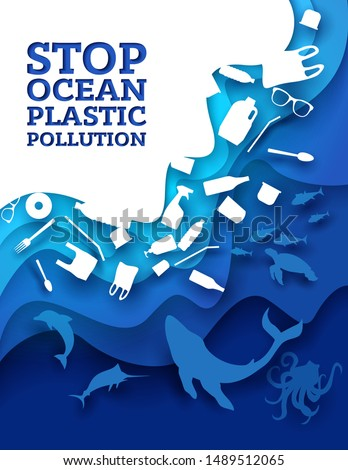 Stop ocean plastic pollution, vector illustration in paper art style. Marine animals and plastic trash. Ocean environmental problem, ecology poster design template.