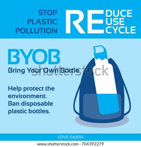 Stop plastic pollution-Ban disposable plastic bottle-BYOB-Bring Your Own Bottle