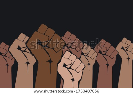Stop racism. Many multi colored fist protesting on dark background. Black lives matter. Different races hands protest, interracial community unity. Modern vector in flat style. New movement