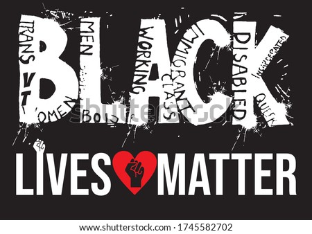 Stop racism Us. Black Lives Matter. Protest Banner about Human Right of Black People in U.S. America. Vector Illustration. Icon Poster and Symbol.