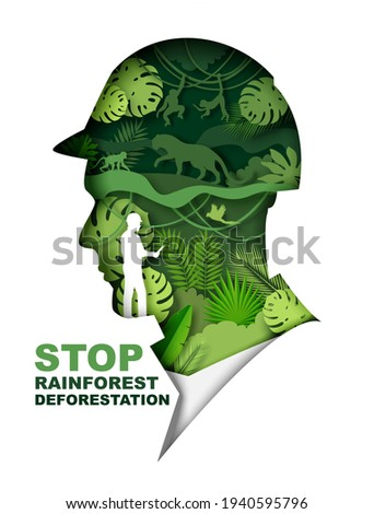 Stop rainforest deforestation poster, banner template. Green jungle plants and wild animals inside of man head silhouette, vector illustration in paper art style. Save rainforest and planet Earth.