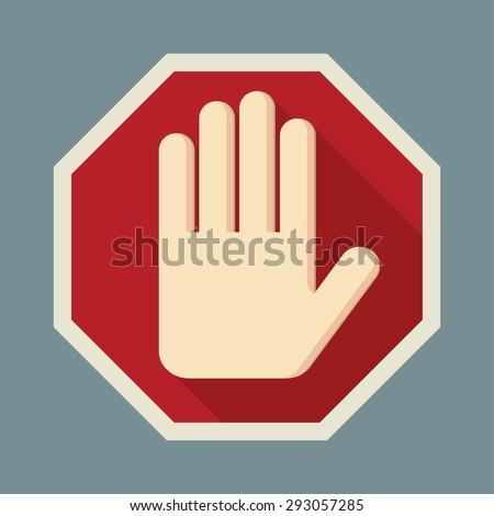 stop  red octagonal stop hand