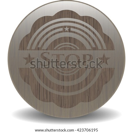 Stop retro style wood emblem