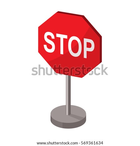 Stop road sign icon in cartoon style isolated on white background. Road signs symbol stock vector illustration.