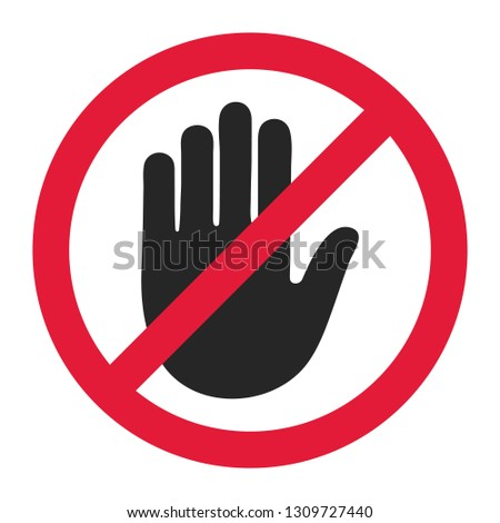 Stop road sign. Prohibited warning icon. Palm in red octagon. Road stop sign with hand isolated on white background. Glossy effect. Vector.