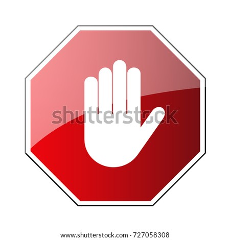 Stop road sign. Prohibited warning icon. Palm in red octagon. Road stop sign with hand isolated on white background. Glossy effect. Symbol of danger, attention, safety Vector illustration
