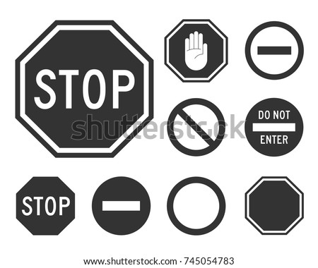 Stop road sign set. Warning road information for drivers and pedestrians, no cars are coming signing system signal. Vector illustration isolated on white background