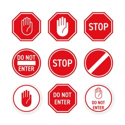 Stop road sign with hand gesture. Vector red do not enter traffic sign. Caution ban symbol direction sign. Warning stop sign for traffic information message isolated on transparent background