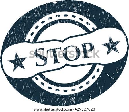Stop rubber grunge stamp