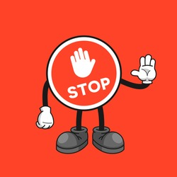 Stop sign cartoon character with a stop hand gesture