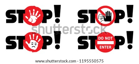 Stop sign do not enter danger warning attention traffic road stop vector icon symbool Beware no walking hand hands no admittance handprint emergency prohibition forbid Caution no entry no walk person