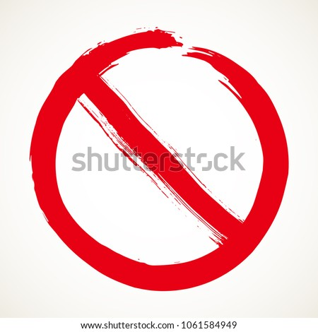 Stop sign hand drawn design element. Prohibition no symbol, warning. Vector illustration in red isolated over white background. #1061584949