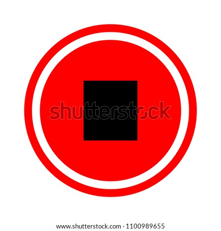 Stop sign icon. Media Player navigation symbol