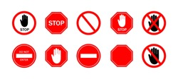 Stop sign. Icon of ban of traffic cars on road. Red stop sign with hand. Symbol of restricted traffic on street, near school, area. Warning of danger. Logo of caution, attention, safety. Vector.