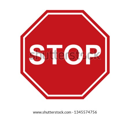 stop sign icon red on white background