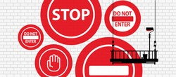 stop sign on wall background. Vector icon.