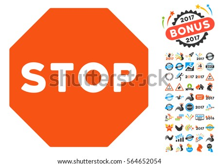 Stop Sign pictograph with bonus 2017 new year symbols. Vector illustration style is flat iconic symbols,modern colors.