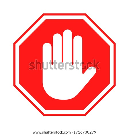 Stop sign. Red forbidding sign with human hand in octagon shape. Stop hand gesture, do not enter, dangerous. Vector Foto d'archivio ©