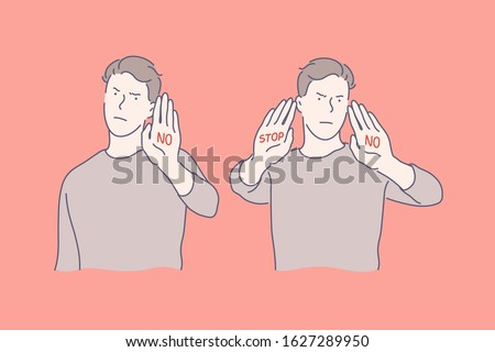 Stop sign, refusal sign, anger set concept. Young serious man shows stop sign. Angry guy shows refusal sign. Young boy refuses from offer or help. Man angers, demands other to stop. Simple flat vector Stockfoto ©